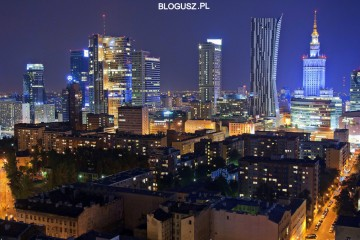 Warsaw skyline by night